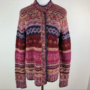Northstyle Chunky Striped Cardigan Sweater Medium